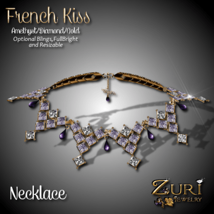 French Kiss - Necklace - Amethyst_Diamond_Gold