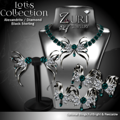 Lotis Collection - Alexandrite_Diamond-Blk Sterling