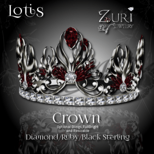 Lotis Crown - Diamond Ruby-Blk Sterling