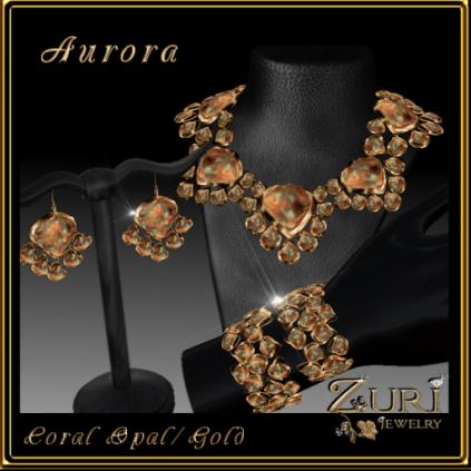 Zuri Rayna~ Aurora Coral-Gold Jewelry Set