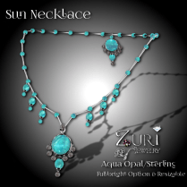 Zuri Rayna~Sun Necklace - Aqua Opal_Sterling