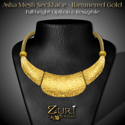 Asha Mesh Necklace - Hammered Gold
