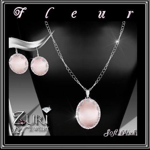 Fleur Soft Pink Necklace-Earrings Set