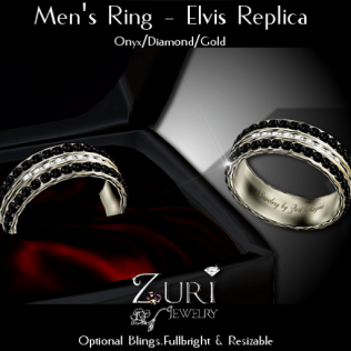 Men's Ring - Elvis Rep- Onyx_Dia_Gold