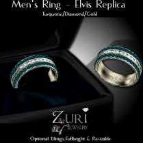 Men's Ring - Elvis Rep- Turquoise_Dia_Gold