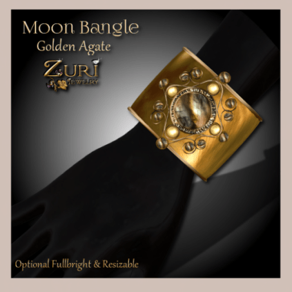 Moon Bangle - Golden Agate