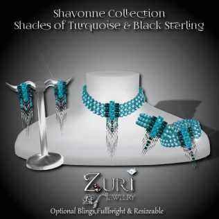 Shavonne Collection - Turquoise Shades Blk Sterling
