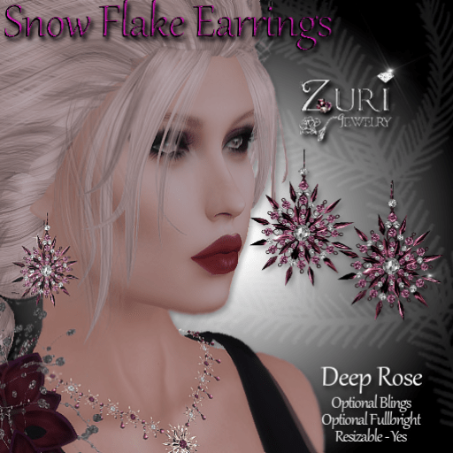 snow-flake-earrings-deep-rose