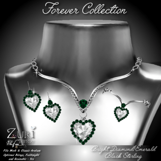 Forever Collection - Bright Dia_Emerald_Blk Sterling