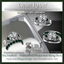 One Love Wedding Rings - Emerald-Diamond-Platinum