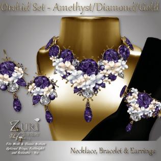 Orchid Set - Amethyst_Diamond_Gold