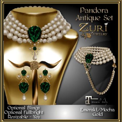 Pandora Antique Set - Emerald_Mocha_Gold