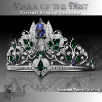Tiara of the Mist Emerald-Parrot Sterling