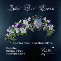 Zahra Floral Crown-Fire Opal-Emerald-Amethyst