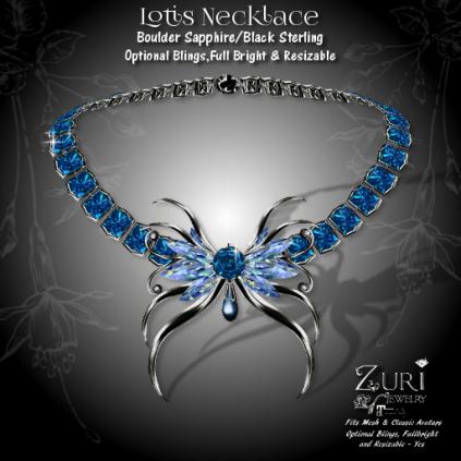 55L Lotis Necklace - Boulder Sapphire-Black Sterling