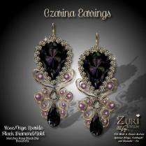 Czarina Earrings - Rose_Onyx Sparkle_Gold
