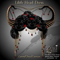 Lilith Head Dress - Garnet_Onyx_Crimson