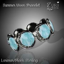Summer Moon Bracelet - Larimar_Black Sterling