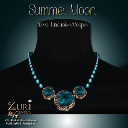 Summer Moon Necklace - Deep Turquoise_Copper