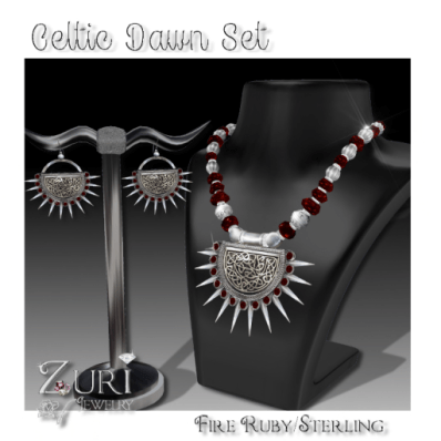 Celtic Dawn Set-Fire Ruby-Sterling