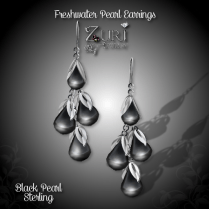 Freshwater Pearls Earrings - Black-Sterling