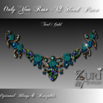 Only You Rose V2 Head Piece Teal_Gold