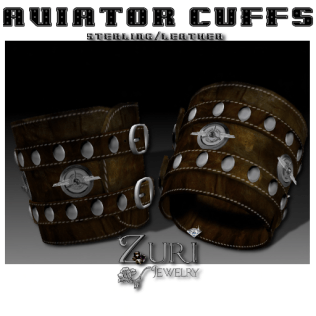50% Men's~Unisex Aviator Cuffs- Sterling_Leather