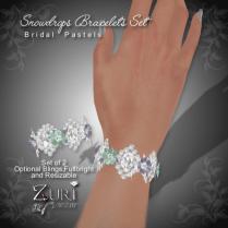 Snowdrops Bracelets Set - Bridal Pastels