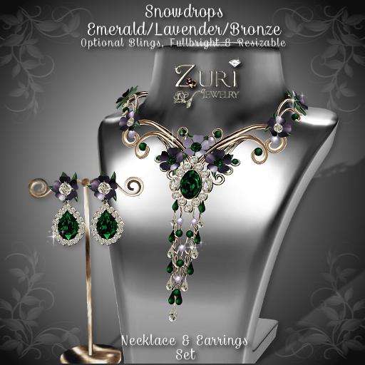 Snowdrops Set - Emerald_Lavender_Bronze