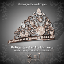 Vintage Jewel of the Isle Tiara - Champagne-Dia-Copper