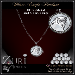 Zuri Rayna~ Eagle Pendant Metal_GemchangePIC