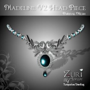 Zuri Rayna - Madeline Headpiece V2 - Turquoise-SterlingPIC