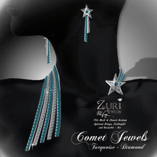 Zuri Rayna- Mesh Comet Jewels - Turquoise_DiamondPIC