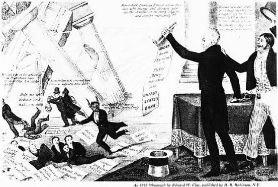 Jackson Estatu Batuetako Bigarren Bankua suntsitzen, eta AEBetako Konstituzioaren printzipioak erakusten