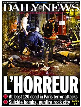 Front page of the New York Daily News for November 14, 2015 about terror attacks in Paris - L'HORREUR