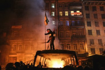 Anti-government protests in Kiev January 25, 2014. After two months of primarily peaceful anti-government protests in the city center, new laws meant to end the protest movement have sparked violent clashes in recent days. Deadly violence erupted on both sides.