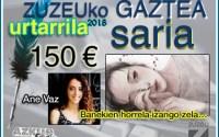 Ane Vazek irabazi du urtarrileko Zuzeu GAZTEA Saria