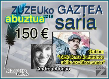 Andrea Alonsok erdietsi du abuztuko Zuzeu Gaztea Saria