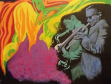 "20"" x 16"" Acrylic on framed Canvas Painting - Miles Davis and Coltrane"