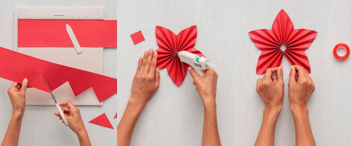 در عکس نشان داده شده - ستاره های فله از کاغذ. آماده سازی تعطیلات در خانه، شکل. ستاره مقاله 1