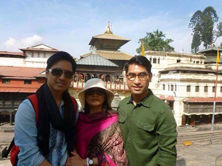 "The abandoned second wife of Thailand's crown prince Vajiralongkorn ""Mom Yuvadhida (Mom Benz)"", with two of their sons, in Nepal on holiday"