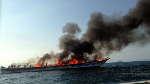 Phuket ferry fire near Noppharat Thara beach in Krabi province on April 8, 2015