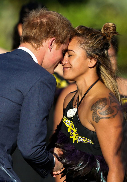 Prince Harry received a hongi from a Maori cultural party member during a welcome ceremony