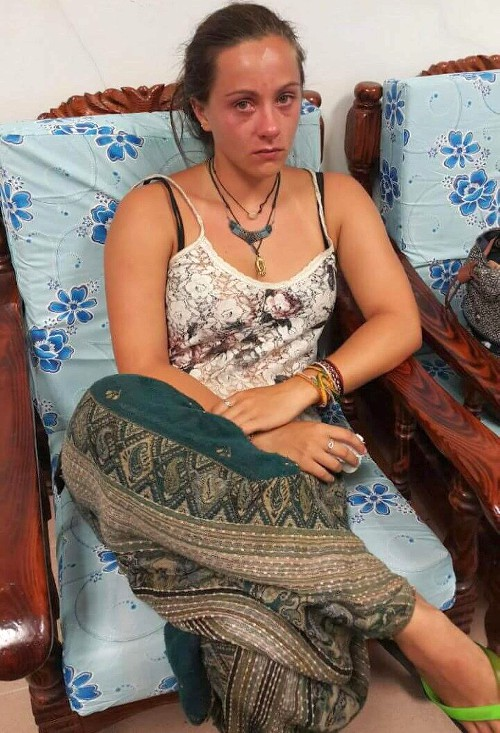 Eleanor Hawkins, the 24-year-old British woman who was nabbed by police as she attempted to leave the state