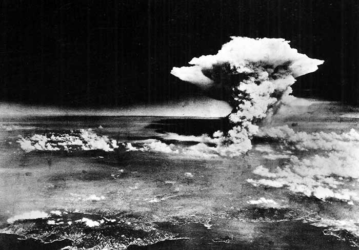 An atomic cloud over Hiroshima,on August-6, 1945