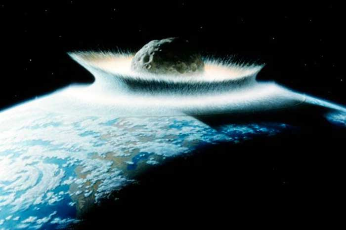 super-impact'. A very large asteroid, about 800km in diameter, strikes the Earth