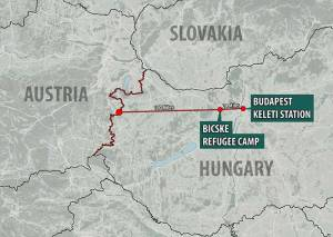 The-refugees-snaked-through-Budapest-in-a-line-stretching-nearly-half-a-mile-as-they-began-the-100-mile-journey-to-the-Austrian-border