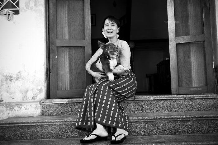 Aung San Suu Kyi at her home in University Avenue, Rangoon, spent more than 15 years under house arrest in her lakeside home and Insein prison. She was released from her latest sentence in November 2010