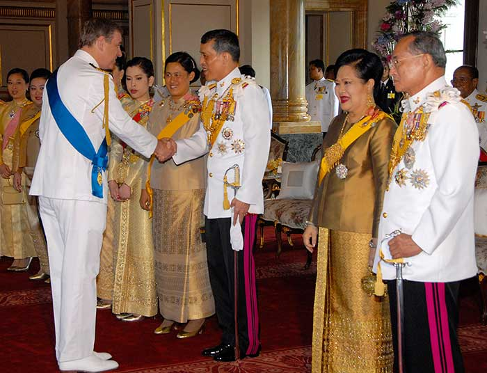 12 June 2006: Thailand's Crown Prince Maha Vajiralongkorn greets Britain's Prince Andrew as King Bhumibol Adulyadej and Queen Sirikit look on at Ananda Samakhom Throne Hall in Bangkok, during the Thai monarch's Diamond Jubilee celebrations