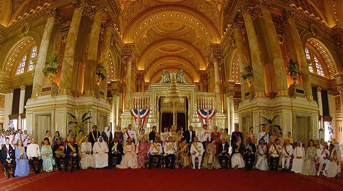 12 June 2006: Thailand's King Bhumibol Adulyadej sits with all his royal guests at Ananda Samakhom Throne Hall in Bangkok during his Diamond Jubilee celebrations